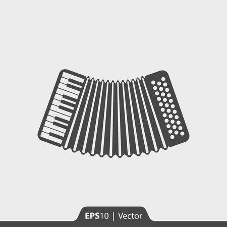 Acordeón musical icono de instrumento vectorial para la web