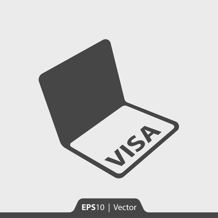 citizenship: Visa in passport vector icon for web and print Illustration