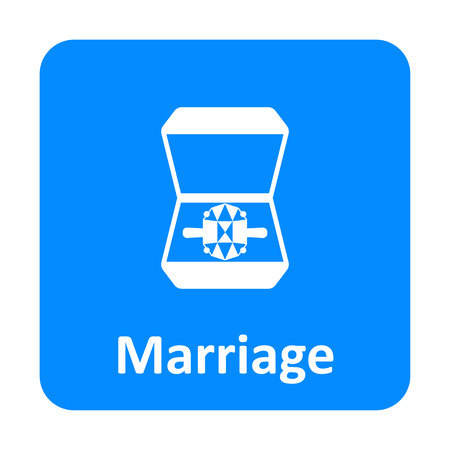 jewel box: Ring in the box marriage vector icon for web