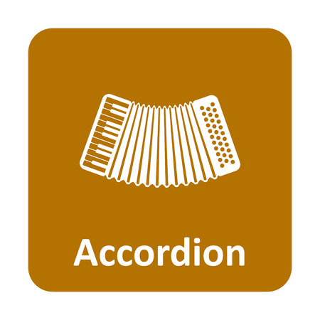 concertina: Accordion musical instrument vector icon for web