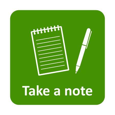 Bloc-notes avec un stylo pour prendre une icône note vecteur pour le web et print