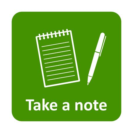 take a note: Notepad with pen to take a note vector icon for web and print