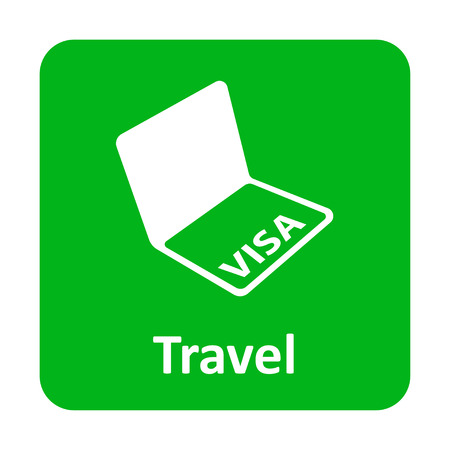 emigration: Visa in passport vector icon for web and print Illustration