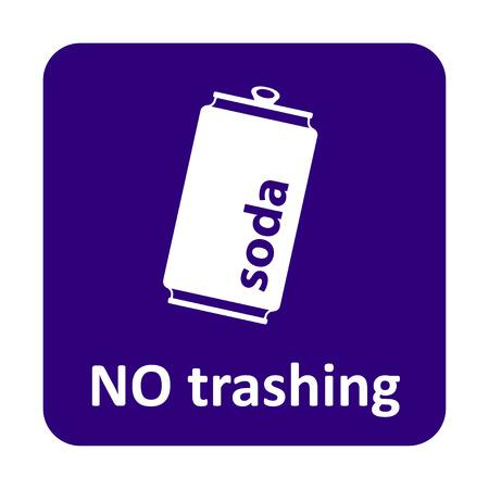 trashing: Soda can no trashing vector icon for web and print Illustration
