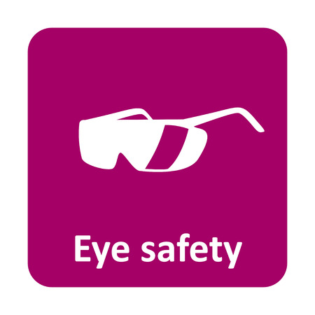 safety glasses: Eye safety glasses vector icon for web and print