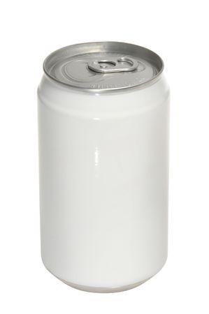 lata de refresco: aislados de aluminio con sosa puede etiqueta en blanco Foto de archivo
