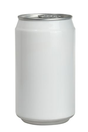 soda can: isolated Aluminum soda can with blank white label