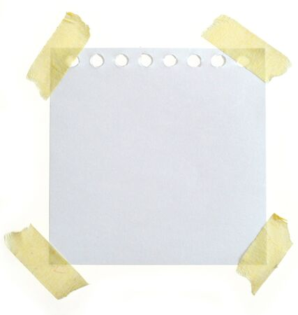 blank note paper paste with paper tape on plain background Stock Photo - 4063996