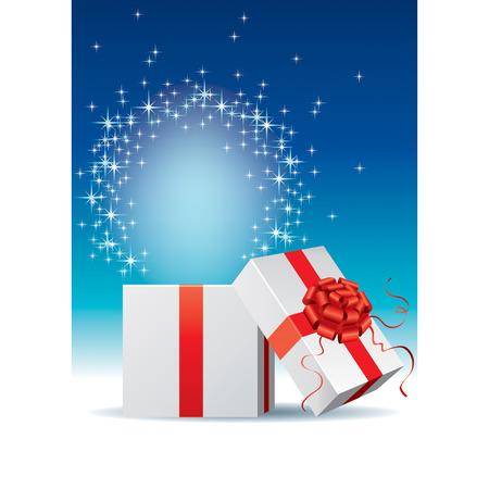 shinning: la luz es brillante y espumosos cuando la caja de regalo se abre