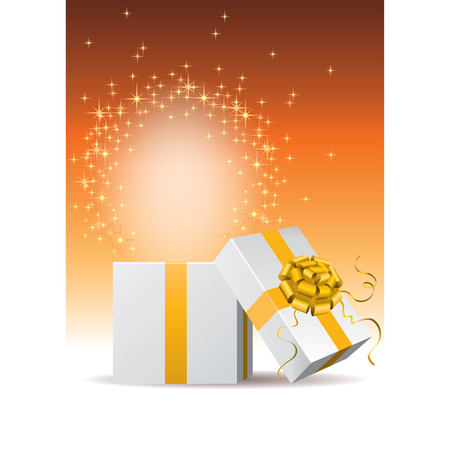 shinning: light is glowing and sparkling when the gift box is opened