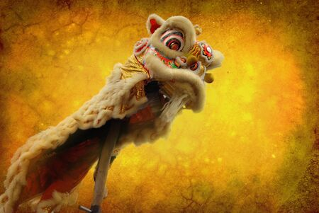 lion dance: lion dance isolated on highly detailed textured grunge background frame