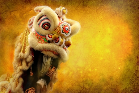 ancient lion: lion dance isolated on highly detailed textured grunge background frame