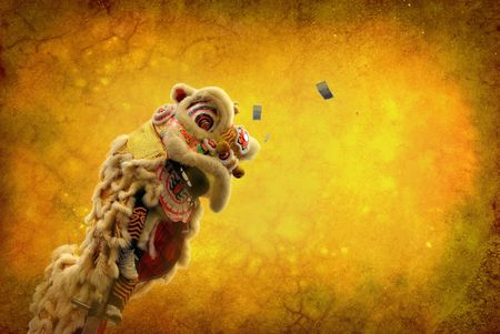 traditional dance: lion dance isolated on highly detailed textured grunge background frame