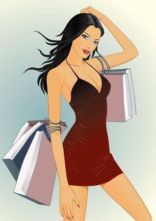 Una ragazza sexy sta portando shopping bag dopo pochi shopping allegro