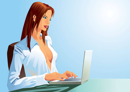 femme dressing: Une fille sexy est en tapant sur son ordinateur portable