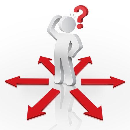 3D Character-Mann mit einem roten Fragezeichen ein Dilemma konfrontiert