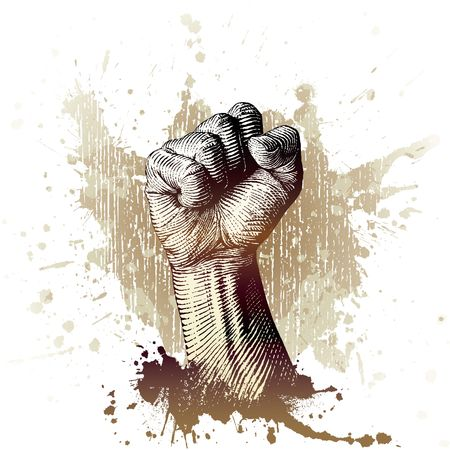 Revolution: drawn by hand with a woodcut or engraving look, a fist with splash and grunge background