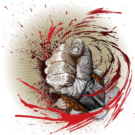 breaking through: drawn by hand with a woodcut or engraving look, a fist breaking through a paper with motion speed.