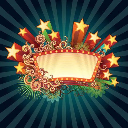 circense: Signo de estrella retro. Combinaci�n de gr�ficos por ordenador con mano dibuja elementos y pintura en aerosol. Foto de archivo