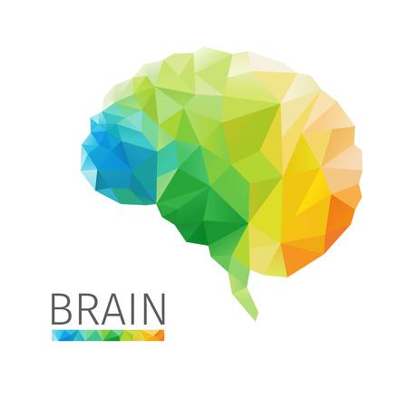 カラフルな多角形から成っている人間の脳の創造的な概念ベクトル