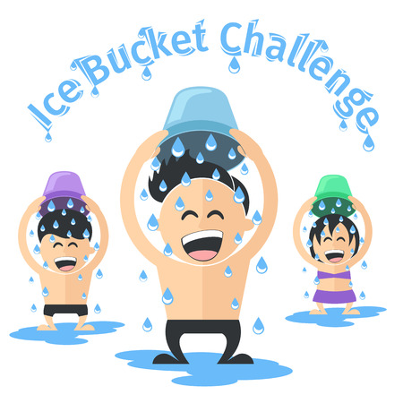 pour water: Ice bucket challenge concept Vector. Group of people pouring cold water on their heads. Illustration