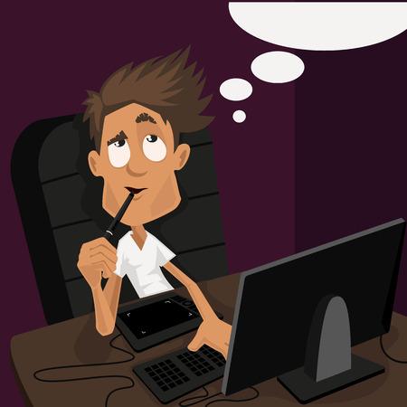 Compagno illustratore, graphic designer, artista seduto a un tavolo. Sul tavolo, computer e tavoletta grafica. Cartoon vettoriale. professione creativa Archivio Fotografico - 32812863