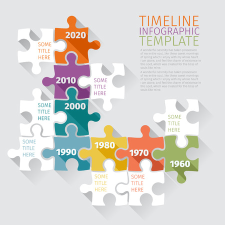 Timeline Infographic template with retro puzzle. Flat design Vector