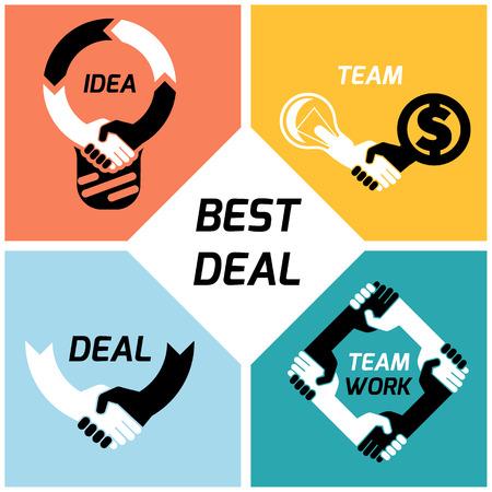 respeto: concepto creativo icono blanco negro apret�n de manos. fondo para los negocios y las finanzas. idea, equipo, mejor trato, trabajo teame. Dise�o vectorial Flat
