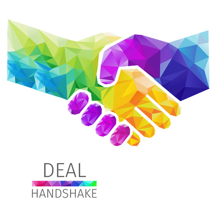 Creative concept of the handshake, deal consists of colorful polygons, vector