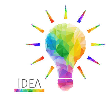 Creative concept of the idea light bulb consists of colorful polygons, vector Фото со стока - 32813104