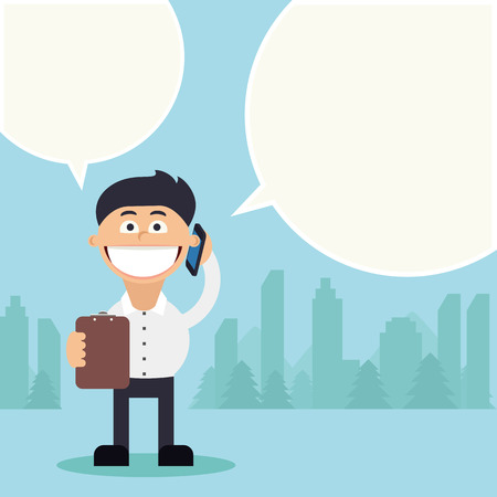 Young man speaking using his mobile phone with a speech bubble Vector