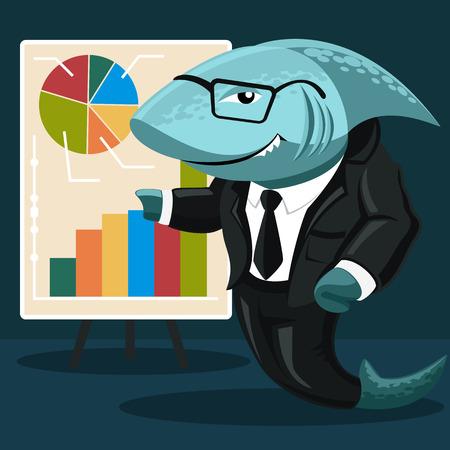 camicia bianca: affari squalo. Concetto creativo dello squalo nella forma di un uomo d'affari in una camicia bianca, abito nero, cravatta e occhiali indica uno stand con grafici e tabelle. Vettore