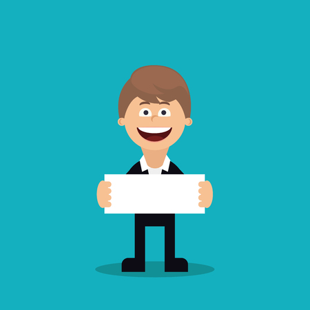 Funny young business man holding white blank paper in front of him. Flat cartoon vector design Vector