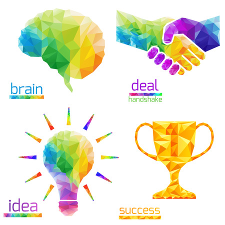 brain: Creative concept of the idea light bulb, human brain, handshake, deal, success, cup  consists of colorful polygons, vector Illustration