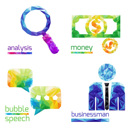 speach: Creative concept of the analysis,bubble speach, money,business man  consists of colorful polygons, vector Illustration