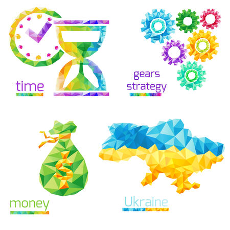 creative money: Creative concept of the time, gears, money, ukraine map  consists of colorful polygons, vector