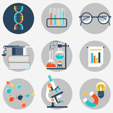 Flat science and education icon sets. Vector