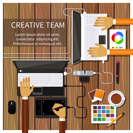 office product: Team of designers working together on a computer. Creative team. flat design style