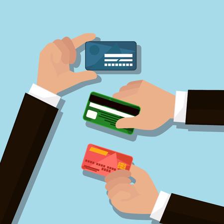 Mains tenant des cartes bancaires dans un style design plat.