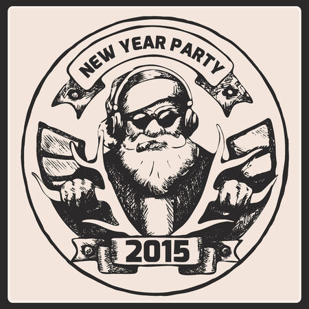 cartoon biker: Santa Claus is listening to music,rides on deer smoking a cigar. New Year and Marry Christmas card