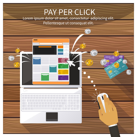 computer mouse icon: Flat design modern vector illustration concept of pay per click internet advertising model when the ad is clicked. Isolated on stylish background