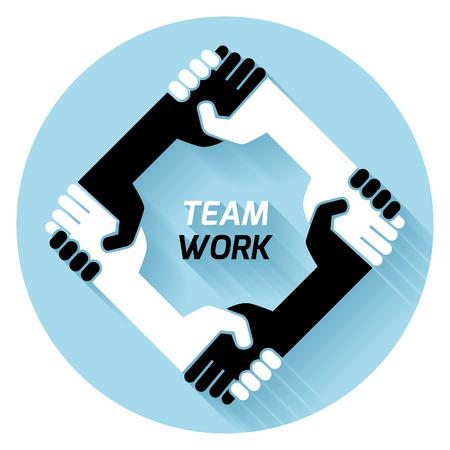 business handshake: creative concept black white icon handshake. background for business and finance. idea, team,best deal, teame work. Flat vector design