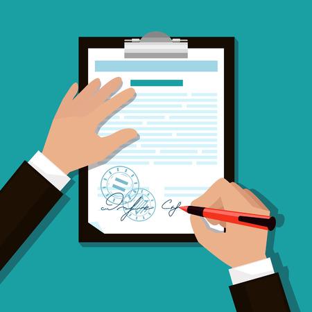 Handle O homem assina o documento carimbado coloca a sua assinatura estilo dos desenhos animados design plano