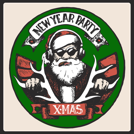 Santa Claus is listening to music,rides on deer smoking a cigar. New Year and Marry Christmas card
