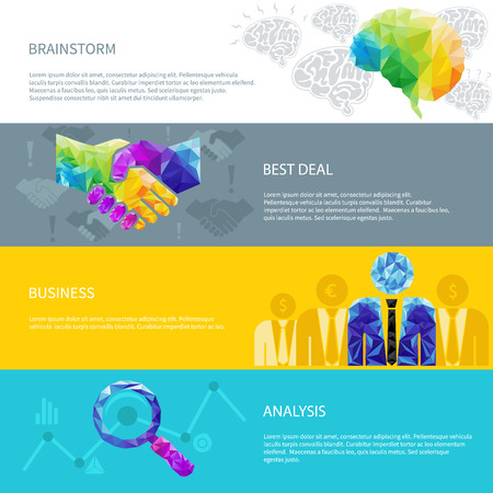 Creative concept of the idea light bulb, human brain, handshake, deal, success, cup  consists of colorful polygons, vector Vector