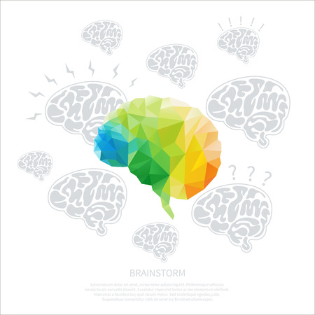 Creative concept of the human brain consists of colorful polygons, vector Vector