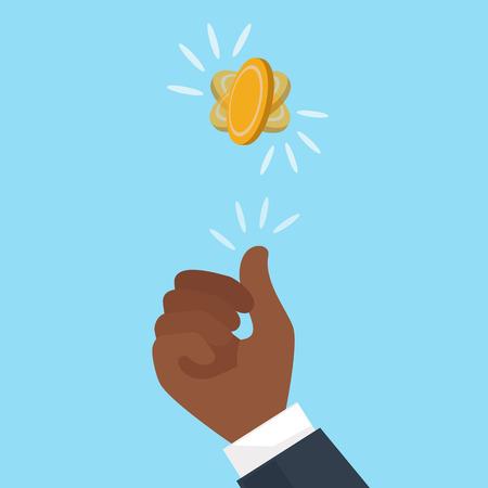tan hend fliping a coin. EPS10 Vector