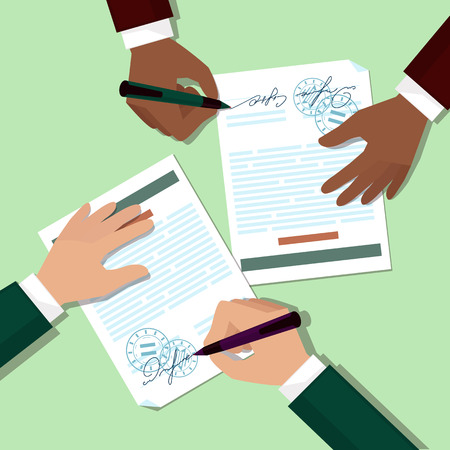 sign contract: Two partners signs document stamped handle puts his signature cartoon flat design style