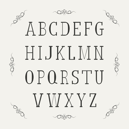 Retro alphabet font. Type letters. Vector design elements. Vector