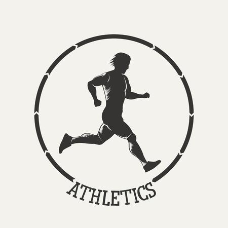 Fitness emblem. Silhouette running man.  Vintage Style illustration.Vintage Style illustration.
